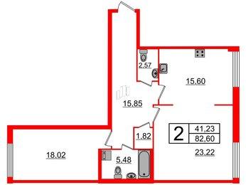 Квартира в ЖК Биография, 2 комнатная, 82.6 м², 2 этаж