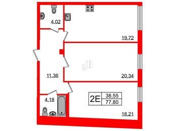 Квартира в ЖК Биография, 2 комнатная, 77.8 м², 2 этаж