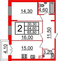Квартира в ЖК Life-Приморский, 2 комнатная, 65.8 м², 2 этаж