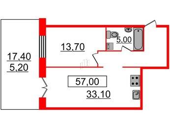 Квартира в ЖК Life-Приморский, 2 комнатная, 56.9 м², 1 этаж