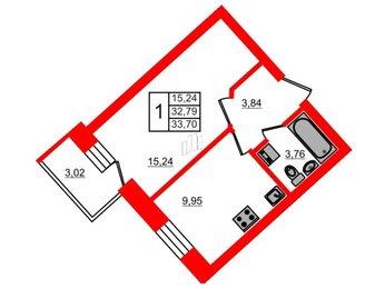 Квартира в ЖК СолнцеPark, 1 комнатная, 33.7 м², 5 этаж