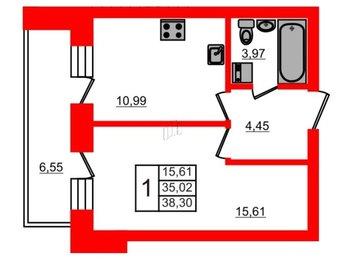 Квартира в ЖК СолнцеPark, 1 комнатная, 38.3 м², 4 этаж