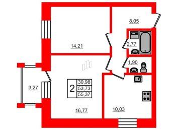 Квартира в ЖК СолнцеPark, 2 комнатная, 55.37 м², 1 этаж
