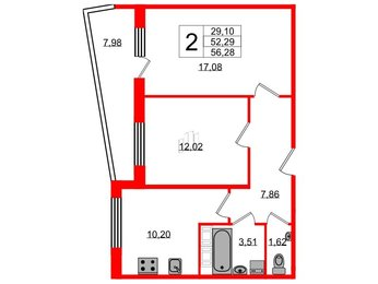 Квартира в ЖК Кирилл и Дарья, 2 комнатная, 56.28 м², 4 этаж
