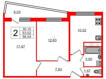 Квартира в ЖК Кирилл и Дарья, 2 комнатная, 56.04 м², 3 этаж