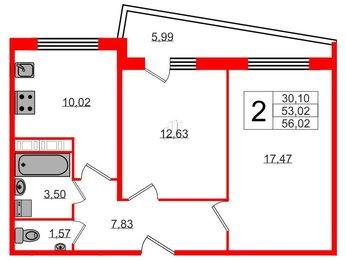 Квартира в ЖК Кирилл и Дарья, 2 комнатная, 56.02 м², 2 этаж