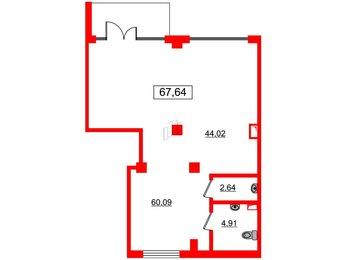 Помещение в ЖК GREENЛАНДИЯ 2, 67.64 м², 1 этаж