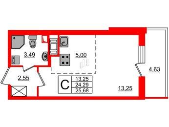 Квартира в ЖК МореОкеан, студия, 24.29 м², 13 этаж