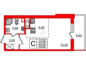 Квартира в ЖК МореОкеан, студия, 24.29 м², 12 этаж
