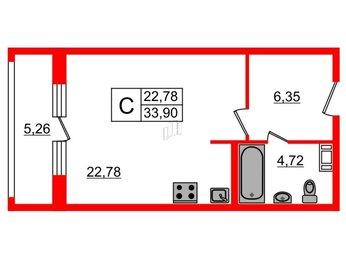 Квартира в ЖК Русские Сезоны, студия, 33.9 м², 2 этаж
