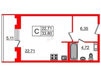 Квартира в ЖК Русские Сезоны, студия, 33.8 м², 5 этаж