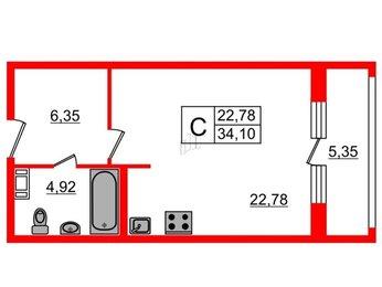 Квартира в ЖК Русские Сезоны, студия, 34.1 м², 2 этаж