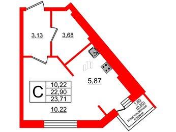 Квартира в ЖК Лето-11, студия, 23.71 м², 2 этаж