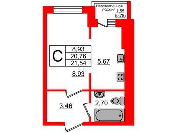 Квартира в ЖК Лето-11, студия, 21.54 м², 2 этаж