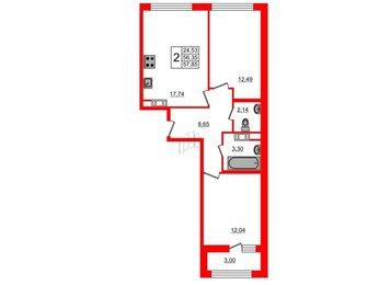 Квартира в ЖК G9, 2 комнатная, 57.85 м², 3 этаж