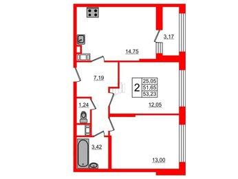 Квартира в ЖК G9, 2 комнатная, 53.23 м², 3 этаж