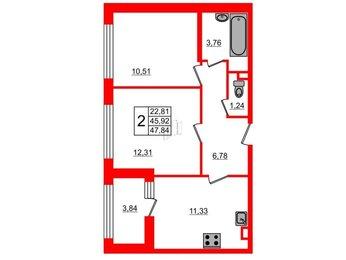 Квартира в ЖК G9, 2 комнатная, 47.84 м², 2 этаж