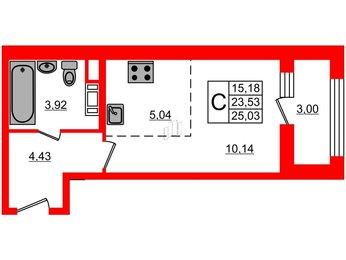 Квартира в ЖК G9, студия, 25.03 м², 3 этаж