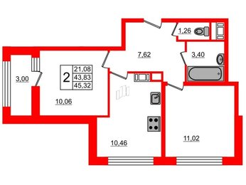 Квартира в ЖК G9, 2 комнатная, 45.32 м², 9 этаж
