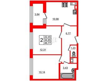 Квартира в ЖК G9, 2 комнатная, 46.77 м², 4 этаж