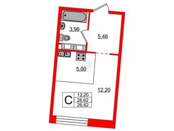 Квартира в ЖК Next, студия, 26.62 м², 7 этаж
