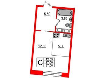 Квартира в ЖК Next, студия, 27 м², 9 этаж