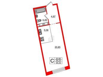 Квартира в ЖК Next, студия, 35.23 м², 9 этаж