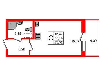 Квартира в ЖК BRAVO, студия, 22.16 м², 6 этаж