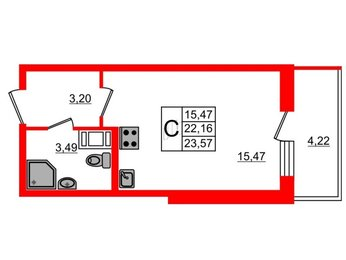 Квартира в ЖК BRAVO, студия, 22.16 м², 8 этаж