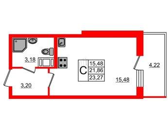 Квартира в ЖК BRAVO, студия, 21.86 м², 8 этаж
