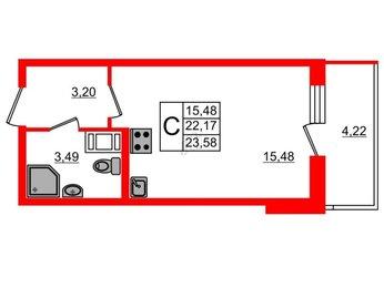 Квартира в ЖК BRAVO, студия, 22.17 м², 5 этаж