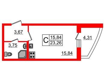 Квартира в ЖК Петр Великий, студия, 25.42 м², 14 этаж