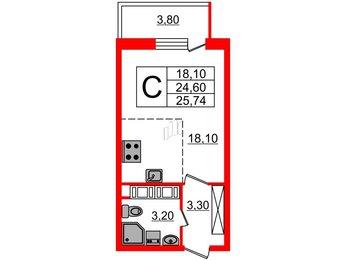 Квартира в ЖК Невские паруса, студия, 24.6 м², 25 этаж