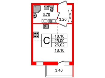Квартира в ЖК Невские паруса, студия, 25 м², 21 этаж