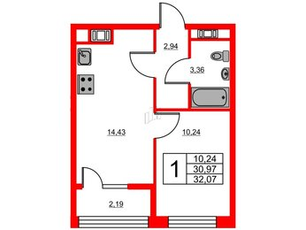Квартира в ЖК «Янила Кантри», 1 комнатная, 32.07 м², 4 этаж