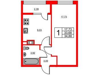 Квартира в ЖК «Янила Кантри», 1 комнатная, 34.88 м², 1 этаж