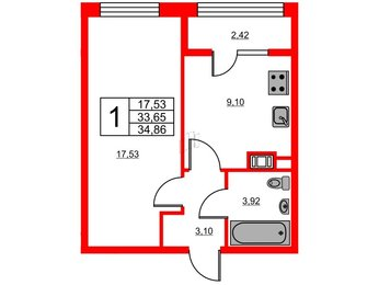 Квартира в ЖК «Янила Кантри», 1 комнатная, 34.86 м², 1 этаж
