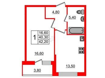 Квартира в ЖК Дом на Обручевых, 1 комнатная, 42.2 м², 2 этаж