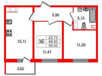 Квартира в ЖК Крылья, 2 комнатная, 50.02 м², 14 этаж