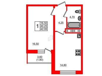 Квартира в ЖК Дом на Космонавтов, 1 комнатная, 42.05 м², 19 этаж