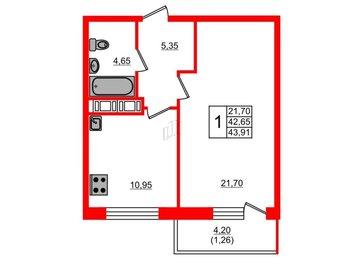 Квартира в ЖК Дом на Космонавтов, 1 комнатная, 43.91 м², 2 этаж