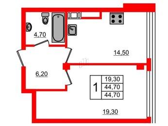 Квартира в ЖК Fusion, 1 комнатная, 44.7 м², 6 этаж