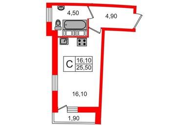 Квартира в ЖК Ultra City, студия, 24.5 м², 14 этаж