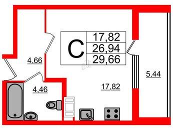 Квартира в ЖК Галактика, студия, 29.66 м², 4 этаж