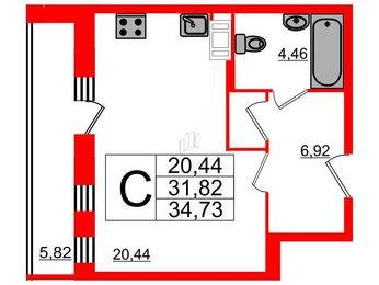 Квартира в ЖК Галактика, студия, 33.57 м², 14 этаж