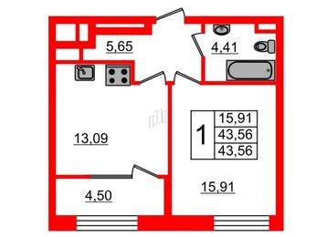 Квартира в ЖК Botanica, 1 комнатная, 43.56 м², 2 этаж