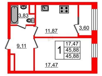 Квартира в ЖК Botanica, 1 комнатная, 45.88 м², 7 этаж