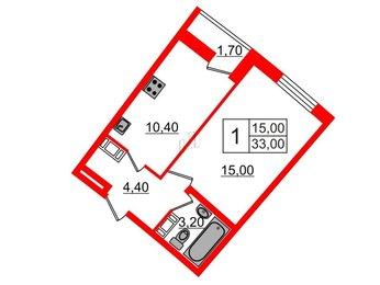 Квартира в ЖК Ultra City, 1 комнатная, 33 м², 8 этаж