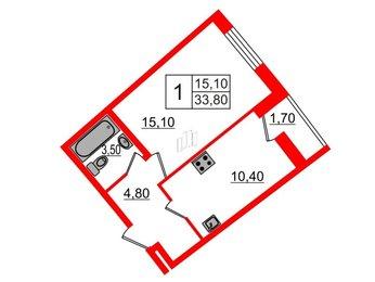 Квартира в ЖК Ultra City, 1 комнатная, 33.8 м², 2 этаж