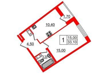 Квартира в ЖК Ultra City, 1 комнатная, 33.1 м², 5 этаж